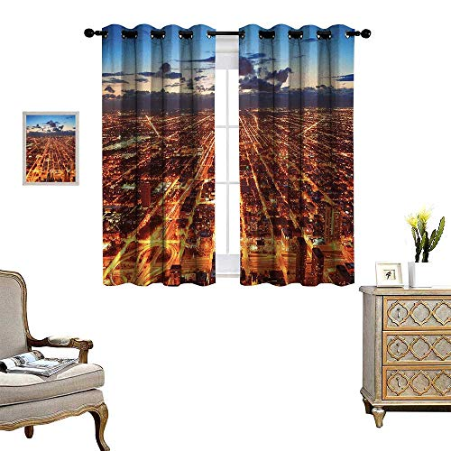 City Patterned Drape for Glass Door Chicago Downtown