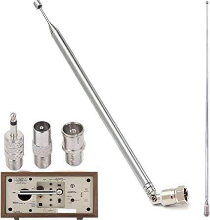 RUCCI-Y FM Radio Antena Receptor AV F Macho Adaptador Antena Telescópica y 3 Adaptador Kit