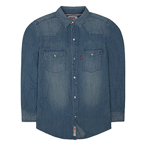 Levi's Boys' Big Denim Western Shirt, Vintage Stone, ()