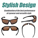 Duduma Tr601 Polarized Sports Sunglasses for Baseball Cycling Fishing Golf Superlight Frame (639 Black matte frame with brown lens)