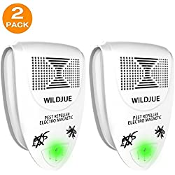 WILDJUE Ultrasonic Pest Repeller Pest Control [2-Pack] Spider repellent, Electronic Plug In Pest Repeller- Repels Mice, Roaches,Spiders,Other Insects,Non-toxic Environment-friendly, Humans & Pets Safe