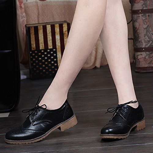 Shoes Perforated Black Flat Lace Women's Vintage Oxford up Oxfords Brogues 4d0xwxq7