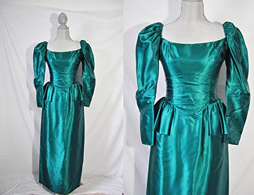Reproduction Gown - Vintage 80s Emerald Green Evening Dress Holiday Cocktail Party Gown