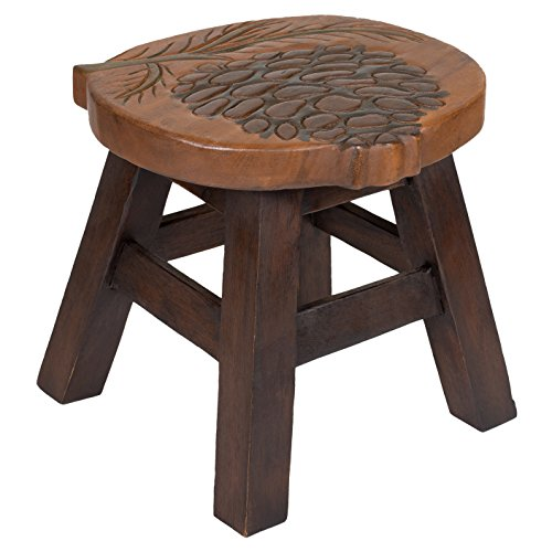 - Pinecone Design Hand Carved Acacia Hardwood Decorative Short Stool
