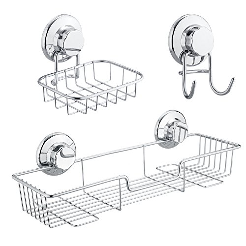 SANNO Bath Shower Caddy / Soap Dish / Double Bath Hook-Bath Organizer Kitchen Storage Basket for Shampoo, Conditioner, Soap- Anti Rust stainless steel (3 pack)