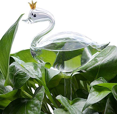 Glass Water Feeder Flower Self Watering Bird Swan Waterer Garden