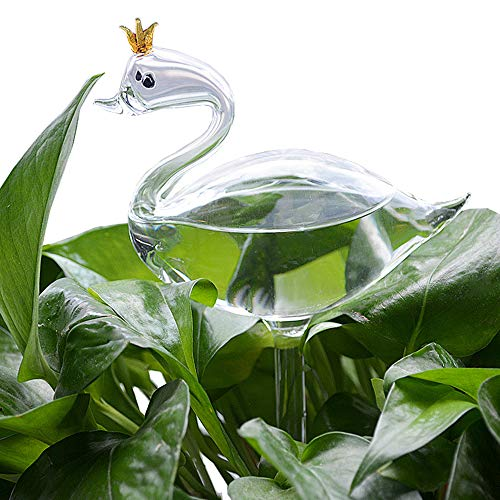 The Crowned Swan Glass Shape Hand Blown Clear Glass Automatic Waterer House Plant Self Watering Decorative Potted Plants Watering Globes Bottle Waterer Container (Swan)