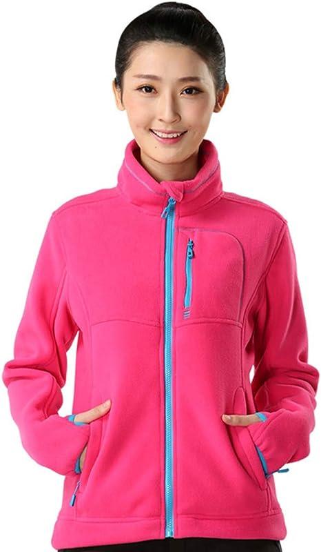BOSOZOKU Womens Thermal Fleece Jacket Full Zip Long Sleeve Casual Bodywarmer Coat Ladies Outdoor Polar Fleece Jacket