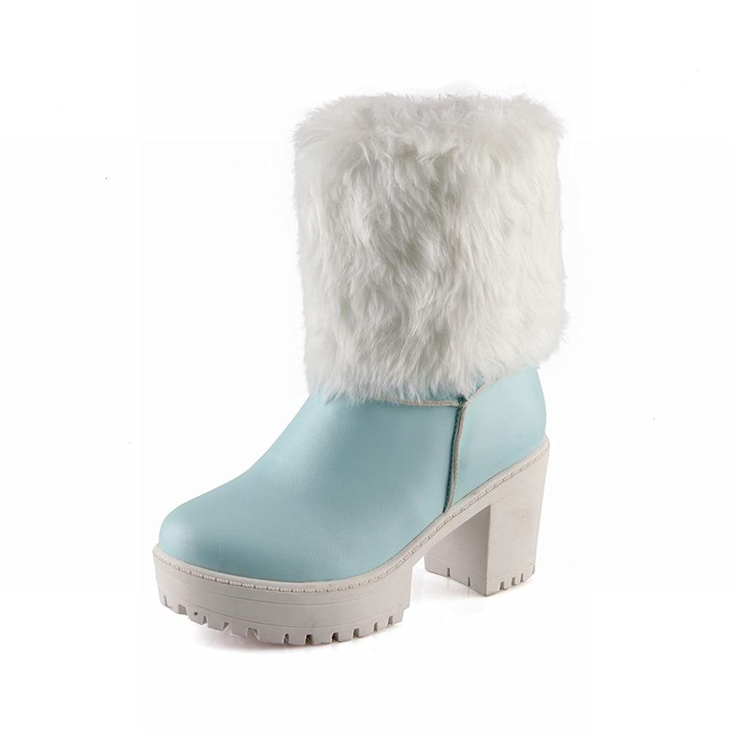 Show Shine Women's Fashion Platform High Chunky Heel Short Snow Boots
