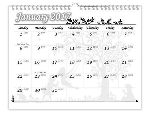 2017 Wall Calendar, January - December, 11