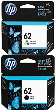 HP 62 Tri-color Original Ink Cartridge (C2P06AN) and HP 62 Black Original Ink Cartridge (C2P04AN) Bundle