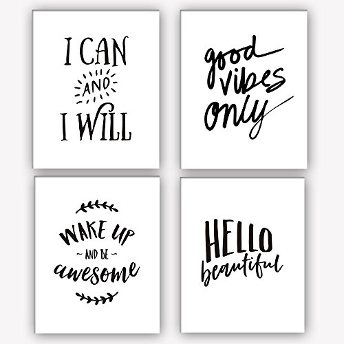 HOME_PLAY Motivational Words Art Print Set Of 4 (10