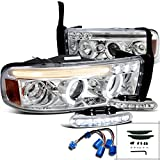 Dodge Ram Sport LED Strip Halo Projector Headlights Chrome+Driving Fog Lamps