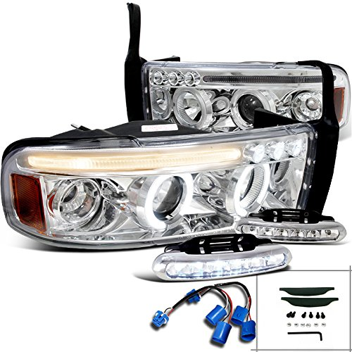 Dodge Ram Sport LED Strip Halo Projector Headlights Chrome+Driving Fog Lamps (Ram Dodge 01 Projector Halo)