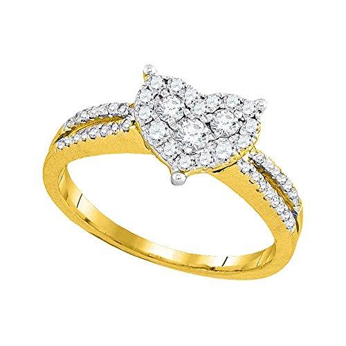 14kt Yellow Gold Womens Round Diamond Heart Cluster Split-shank Ring 1/2 - Gold Setting Shank 14kt Yellow