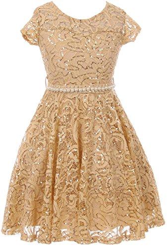 Little Girls Cap Sleeve Glitter Lace Pearl Holiday Junior Bridesmaid Flower Girl Dress USA Gold 6 -