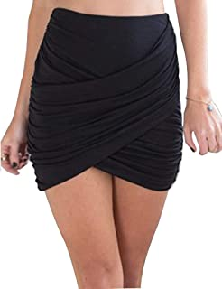 cbcbf4f631 Yeshire Women's Wrap Runched Stretch Draped Mini Pleated Bodycon Pencil  Skirt