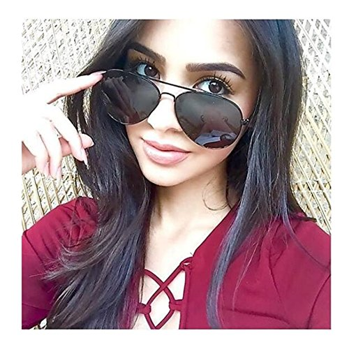 VIVIENFANG Lightweight Colorful Mirror Revo Lens Polarized Aviator Sunglasses - Sunglasses Aviator Large Black