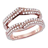 Jewels-By-Lux-14kt-Rose-Gold-Womens-Round-Diamond-Ring-Guard-Wrap-Solitaire-Enhancer-12-Cttw-Ring-Size-6