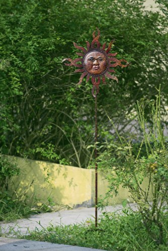 Sunjoy Flaming Sun Garden Stake Made of Hand Painted Metal, - Bed Painted King California