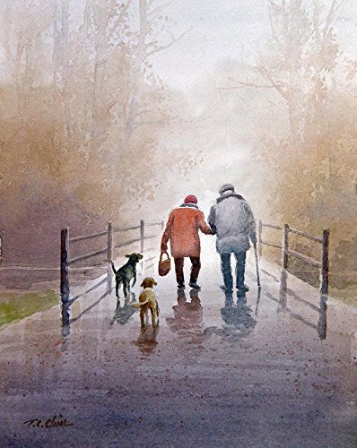 An Old Couple with Their Dogs Walking In The Park - Art print of watercolor painting - Trees, (Dog Watercolor Painting)