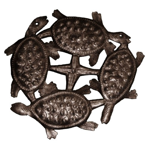 Le Primitif Galleries Haitian Recycled Steel Oil Drum Outdoor Decor, 9 by 9-Inch, Four Turtles