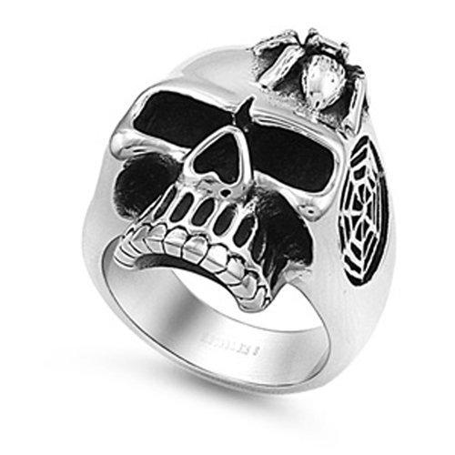 (JewelryVolt Stainless Steel Ring Skull CZ Spider Head Web Ruby Garnet Polished & Oxidized Red CZ (T 14))