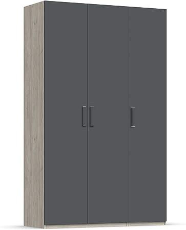 Unniq Armario ropero 3 Puertas batientes - 221x167x59 cm - Roble Natural/Gris Pizarra: Amazon.es: Hogar