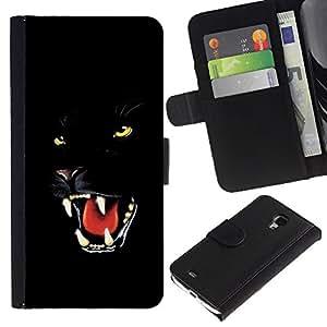 Ihec-Tech / Flip PU Cuero Cover Case para Samsung Galaxy S4 Mini i9190 MINI VERSION! - Fierce Black Panther Jaguar Cat