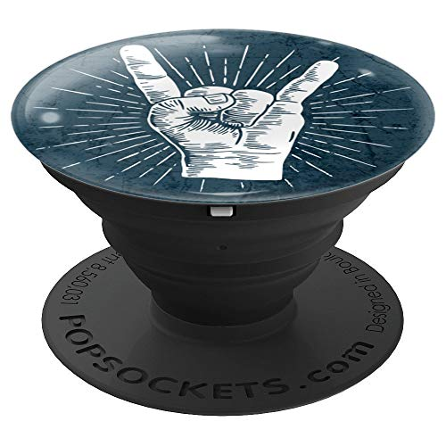 Classic rock hand sign Rock n Roll 80s style for Music Lover - PopSockets Grip and Stand for Phones and Tablets