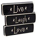 """Set of 3 Heartwood Hollow 5"""" x 1.5"""" Inspirational Engraved Wood Block Signs (Live Laugh Love)"""