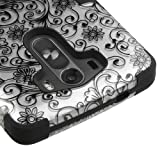 LG G3 (2014) Case, Kaleidio [TUFF] Shockproof Hybrid Dual Layer Protective Cover [Includes a Overbrawn Prying Tool] [Silver Clover Flowers]