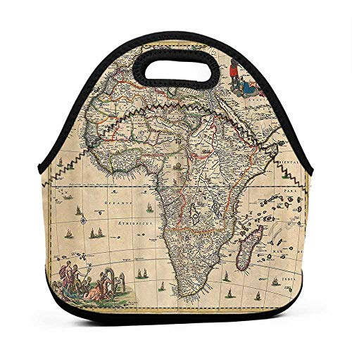 Large Size Reusable Lunch Handbag Antique Decor Collection,Old Map of Africa Continent Ancient Historic Borders Rustic Manuscript Geography Image,Ivory,small insulated lunch bag for women (Manuscript Border)