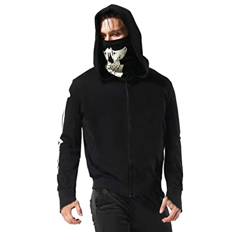 Amazon.com: 2019 Mens Black Pullover Hoodies Skull Print ...
