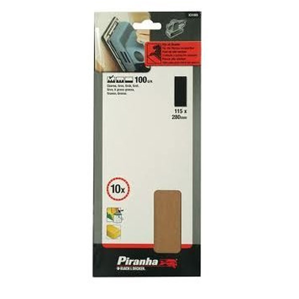 10 hojas de lija sin perforar 1//2 Black+Decker X31010-XJ 115 x 280mm Grano 150.