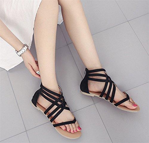 42 Découpe Talon xie Femmes Grande noir Clip 35 Sandales Plat Taille Femmes Femme Toe Chaussures fvcfTWRSO