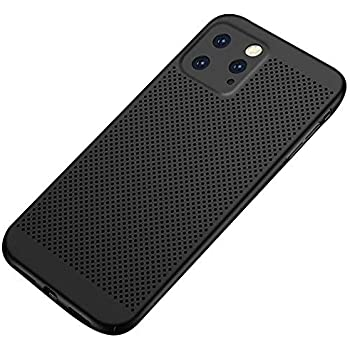 for iPhone 11 Pro Max Case Shockproof Perforated Mesh Hard PC Case, Ultra Slim Heat Dissipation Anti-Scratch Back Bumper Cover Phone Case,Black