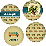 School Bus Set of 4 Glass Lunch/Dinner Plate 10'' (Personalized)