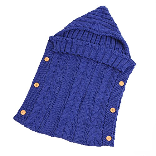 (ALLAIBB Baby Boys Girls Sleeping Bag Warm Knitted Wool Bunting for Carriage Stroller Size F (Royal Blue))