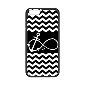 iPhone 6 Protective Case - Black and White Chevron Pattern Anchor Infinite Hardshell Cell Phone Cover Case for New iPhone 6