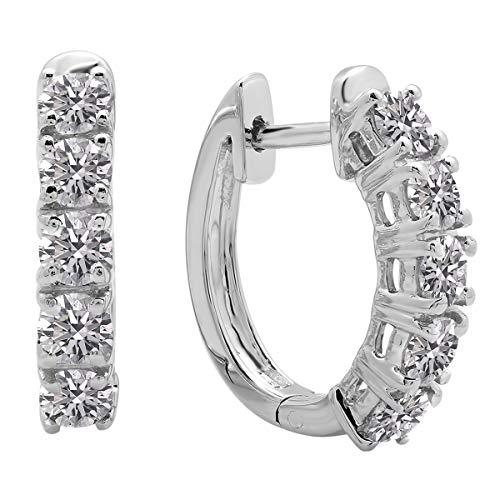 Dazzlingrock Collection 1.00 Carat (ctw) 14K Round Lab Grown White Diamond Ladies Huggies Hoop Earrings 1 CT, White Gold