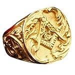 PMTIER Men s Stainless Steel Masonic Ring Vintage Biker Freemason Band Gold Size 8