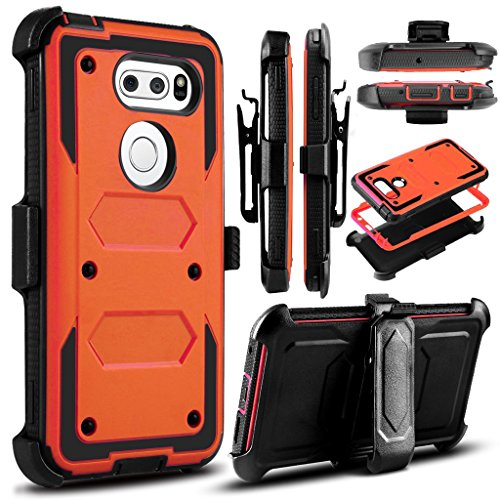 LG V30/LG V30 Plus Case,Heavy Duty Shockproof[Double Kickstand][Belt Swivel Clip] Dual-Layer Full-Body Armor Rugged Protection Carrying Case with Built-in Screen Protector(Free Touch Stylus) (Orange)