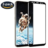Galaxy S8 Screen Protector, [2-Pack] ALCLAP S8 Tempered Glass Full Coverage 3D Curved High Definition Ultra Clear Film Anti-Bubble Lifetime Replacement Screen Cover for Samsung Galaxy S8 - Black