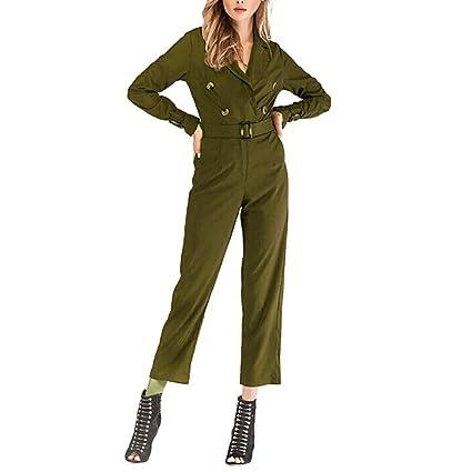 771c19c7e8b Dreamyth-Winter Women Fashion Daily Long Sleeve V-Neck Button Solid Pencil  Pants Jumpsuit