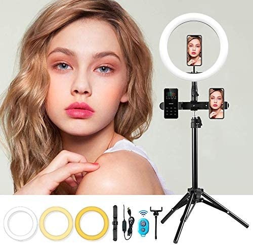 MOUNTDOG 10.2'' Selfie Ring Light with Tripod Stand – LED Camera Selfie Bluetooth Ring Light with3 Phone Holders for Photography YouTube Makeup Live Stream, Compatible with Almost All Phone