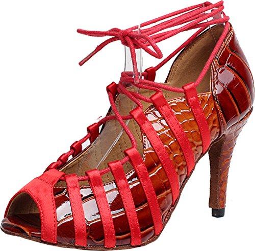 Abby Q-6189 Dames Sexy Latin Tango Ballroom Cha-cha Pu Dansschoenen Rood
