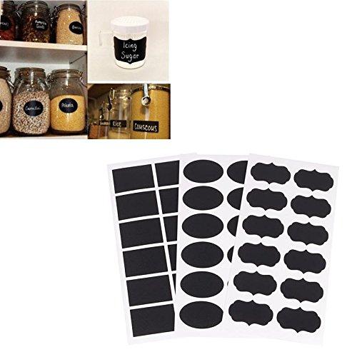 Zhuotop 36x piccolo gesso nero consiglio Mason Jar etichette adesivi lavagna a buon mercato unico