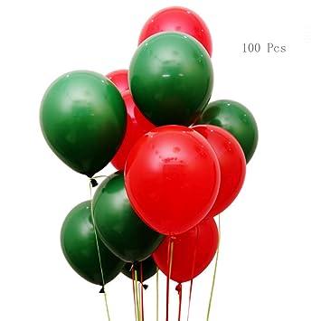 Aoligei Globos Rojos y Verdes de 10 Pulgadas, 100 Unidades ...