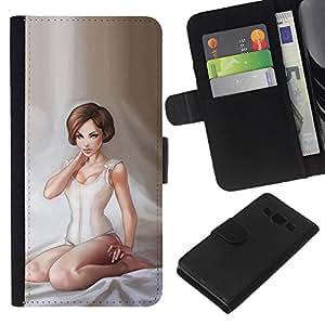 - ART PAINTING GIRL WOMAN LINGERIE WHITE ANGEL - - Prima caja de la PU billetera de cuero con ranuras para tarjetas, efectivo desmontable correa para l Funny House FOR Samsung Galaxy A3